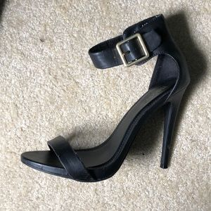 Black ankle strap heel with buckle!